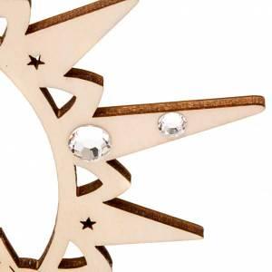 Adornos de madera y pvc para Árbol de Navidad: Estrella con muñeco de nieve y Swarovski
