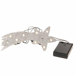 Estrella de belén plateada 10 LED pilas s3