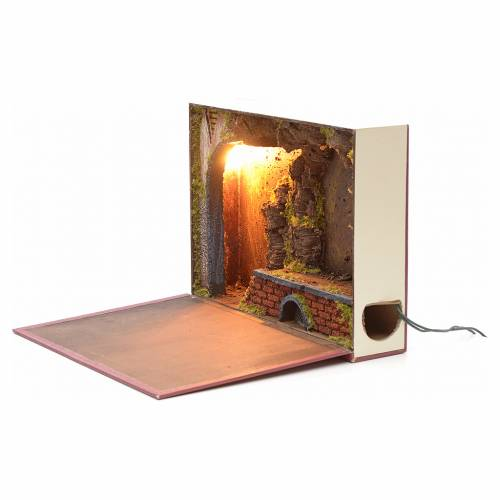 Etable éclairée en livre pour crèche 24x30x8 s2