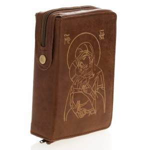 Etui pour liturgie 4 volumes, Jésus et Marie, marron s4