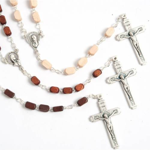 Faceted coconut-effect beads rosary s1