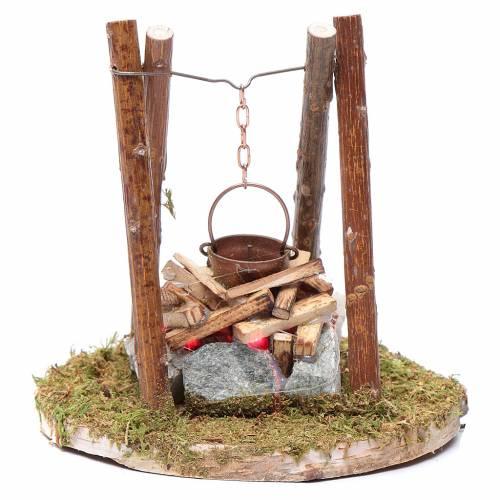 Falò di legno e pietre accessorio presepe 10x10x10 cm s1