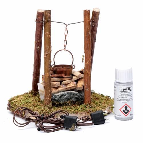 Falò di legno e pietre accessorio presepe 10x10x10 cm s2