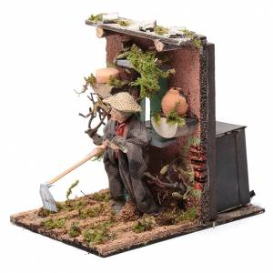 Farmer animated figurine for Neapolitan Nativity, 10cm s2