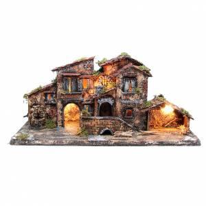 Neapolitan Nativity Scene: Farmhouse for Neapolitan Nativity with fountain 38X80X38cm