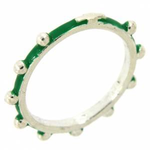 Anelli preghiera: Fedina rosario MATER smaltata argento 925 verde