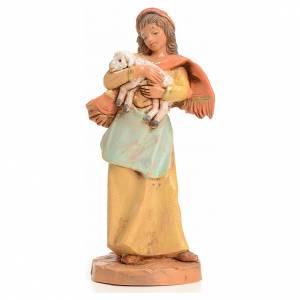 Santons crèche: Femme à la brebis crèche 9,5 cm Fontanini
