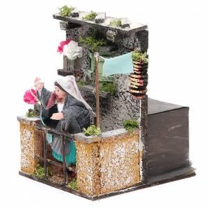 Femme au balcon animation 10 cm crèche napolitaine s2