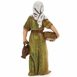 Crèche Moranduzzo: Femme avec panier, santon crèche Moranduzzo 8 cm