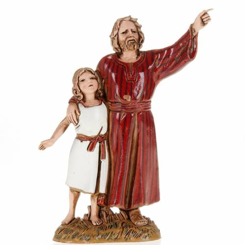 Figurines for Moranduzzo nativities, man and young boy 10cm s1