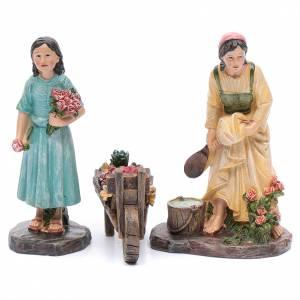 Statue per presepi: Fioraie con carretto in resina set 3 pz presepe da 20 cm