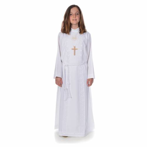 First Communion alb for girl, macramé embroidery s1