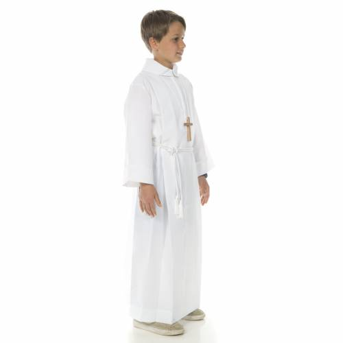 First communion alb with 2 pleats fake hood s3