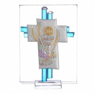 Bonbonnière: First Communion favour, Christ image in silver and aqua glass 8cm