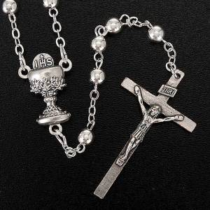 First Communion rosary with silver beads s4