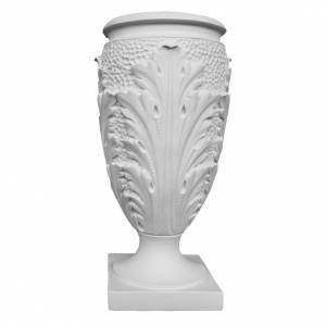Flower vase in reconstituted marble, leaves s1