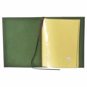 Folder for sacred rites in green leather, hot pressed golden cross Bethleem, A4 size s3