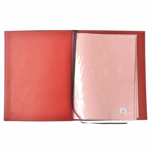 Folder for sacred rites in red leather, hot pressed cross Bethleem, A4 size s3
