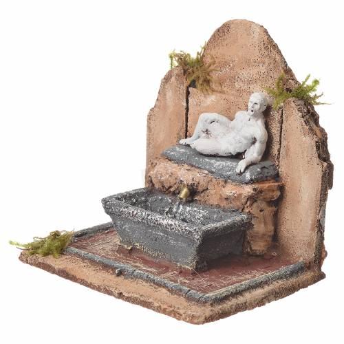 Fontana resina presepe stile romano 17x19x16 cm s2