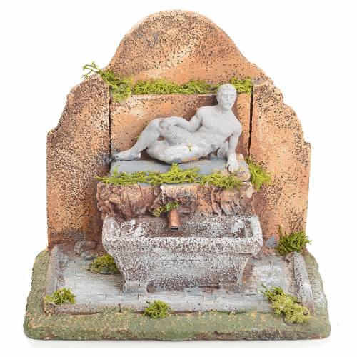 Fountain in resin with stairway 13x10x15cm s5