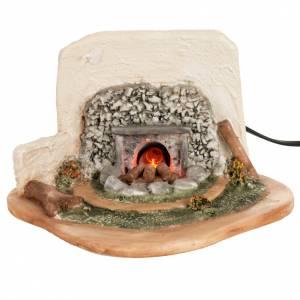 Fuego eléctrico con pastor y ovejas para pesebre 12cm s2