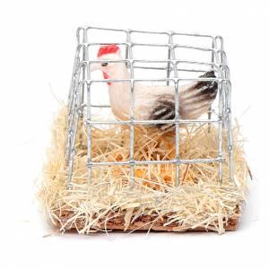 Gabbia con gallina presepe h reale 2,5 cm assortita s3