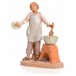 Santons crèche: Garçon à la soupe crèche 9,5 cm Fontanini