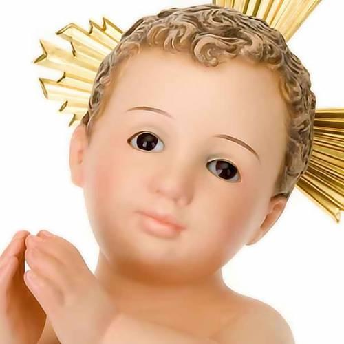 Gesù Bambino pasta legno raggiera cm 30 dec. elegante s4