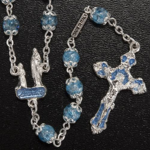 Ghirelli light blue rosary Lourdes Grotto, glass s2