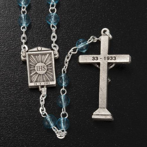 Ghirelli rosary in light blue glass Our Lady of Medjugorje 6mm s5