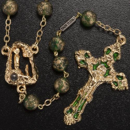Ghirelli rosary Lourdes Grotto, green-golden 8mm s2
