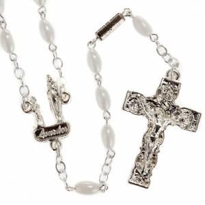 Ghirelli outlet rosary beads: Ghirelli rosary Lourdes, white oval beads 6x4mm