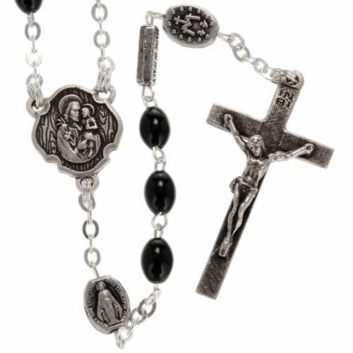 Ghirelli rosary, St. Joseph black glass 4x6mm s1