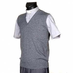 Gilet collo V grigio chiaro maglia unita s2