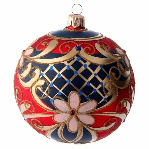 Christmas balls: Glass ball with flower decorations coloured in red, blue and gold 100 mm