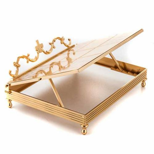 Gold-plated brass book stand with cross s2