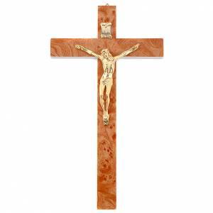 Wooden crucifixes: Golden walnut root-like crucifix
