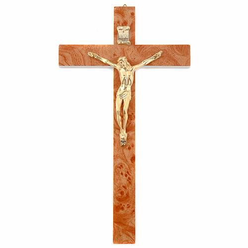 Golden walnut root-like crucifix s1