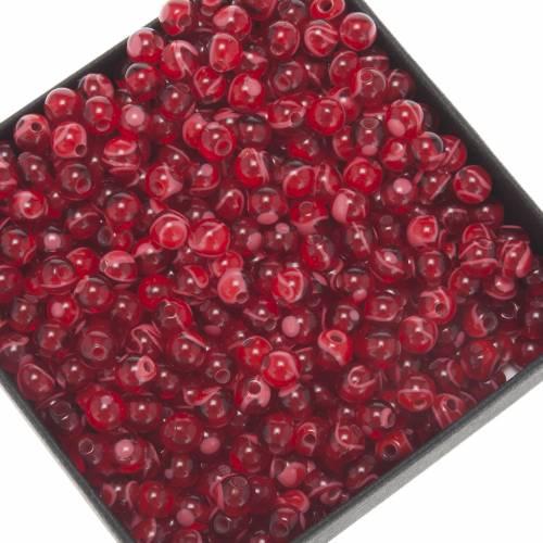 Grains chapelet à faire soi-même imitation soie rouge ronds 5m s1