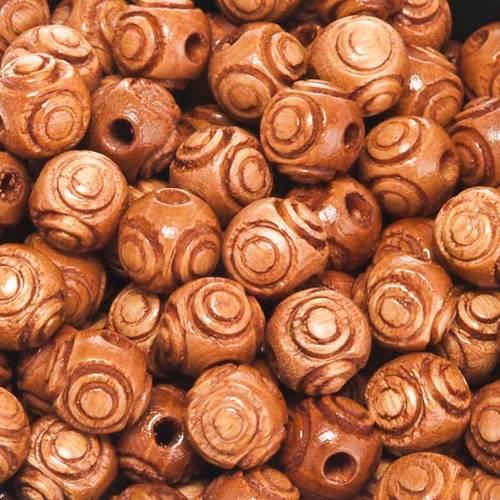 Grains chapelet bois simili noix de coco s1