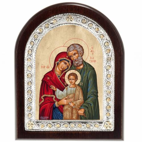 Greek table icon, Holy Family in sterling silver s1
