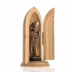 Statuen aus gemalten Holz: Grödnertal Heiliger Pater Pio in Nische