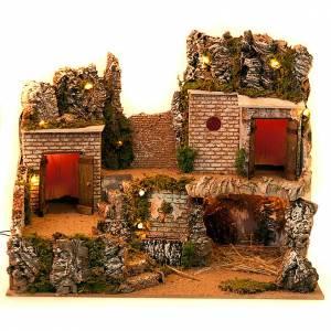 Grotta presepe e borgo con case su 3 livelli 60X40X50 s3
