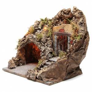 Grotte crèche bois liège illuminée 38x30x30 cm s2