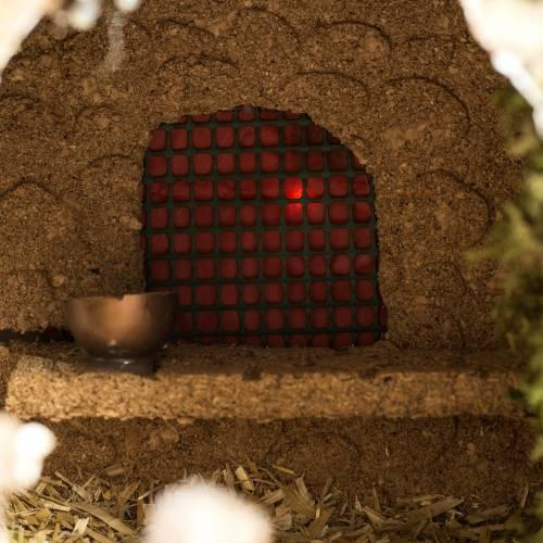 Grotte crèche Noel avec cascade, feu, maisons s5