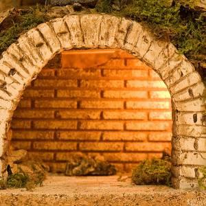 Krippe Hütten und Grotten: Grotte fuer Krippe leuchtende Treppe Basis aus Holz 40x57x40