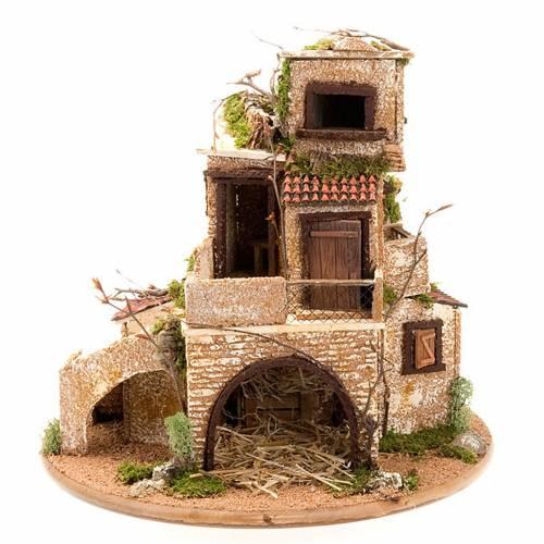 grotte pour crèche avec village illuminé, 30x42x30 s1