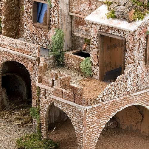 grotte pour crèche, fontaine et village illuminé, 5