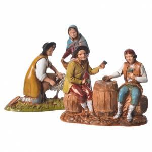 Grupo de jugadores de cartas y esquilador 8 cm Moranduzzo 2 figuras s1