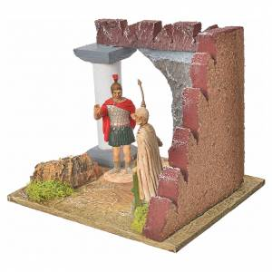 Guardie romane e muro castello, ambiente presepe s2